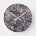 Blue & Rose Gold Paint Splatter Abstract Glamour Round Clock