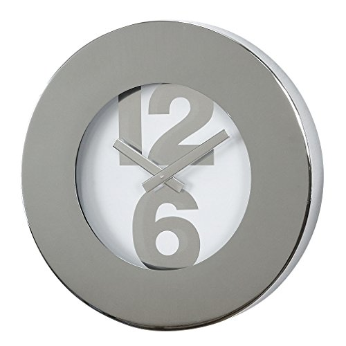 Time Concept 12″ Round Bold Number Wall Clock – Silver – Metal Steel Frame, 1 x AA Battery Operated