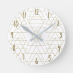 Gold Triangles Chic White Modern Glamour Round Clock