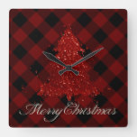 Red Christmas Tree Paint Splatter Modern Holiday Square Wall Clock
