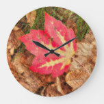 Red Maple Leaf Autumn Large Clock