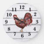 Red Rooster Shiplap Farmhouse Decor Large Clock