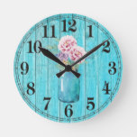 Rustic Flowers in Mason Round Wall Clock