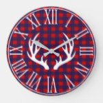 Rustic Navy Buffalo Check Plaid & Deer Antlers Large Clock