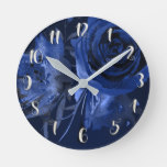 Winter Chic Bold Floral Blue Roses Elegant Chic Round Clock