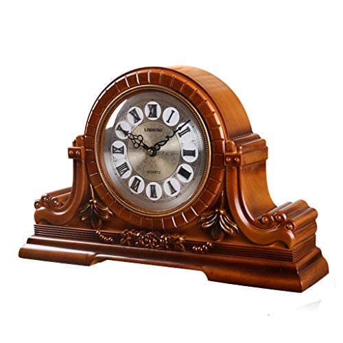 ZYANZ Retro Mantel Clock, Resin Desk Shelf Clock Battery Powered (Color : Brown, Size : 46x31cm)