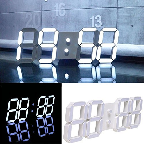LHGS Home 3D Modern Digital Display LED Wall Clock Timer Remote Control