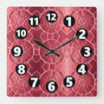 AL 012, Western, SW, Faux Leather, Alligator Red Square Wall Clock