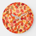 Autumn Fall Leaves Collage Large Clock
