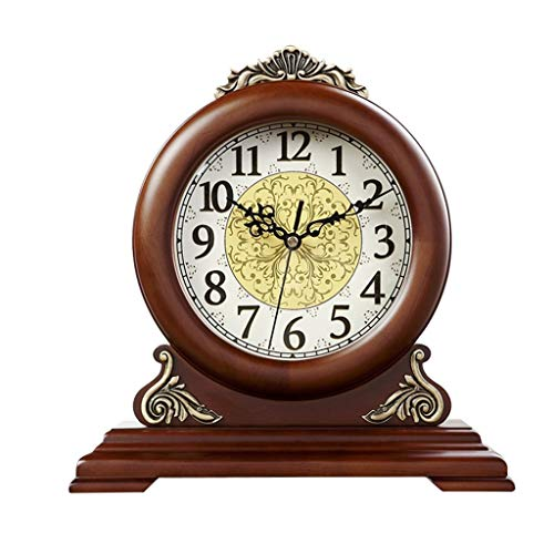 ZYANZ Retro Metal Mute Mantel Clock, Solid Wood Desk Shelf Clock Battery Powered (Color : Brown, Size : 12″/30×29.5cm)