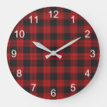 Check Buffalo Plaid Pattern Rustic Red Black Large Clock