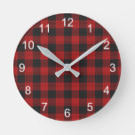 Check Buffalo Plaid Pattern Rustic Red Black Round Clock