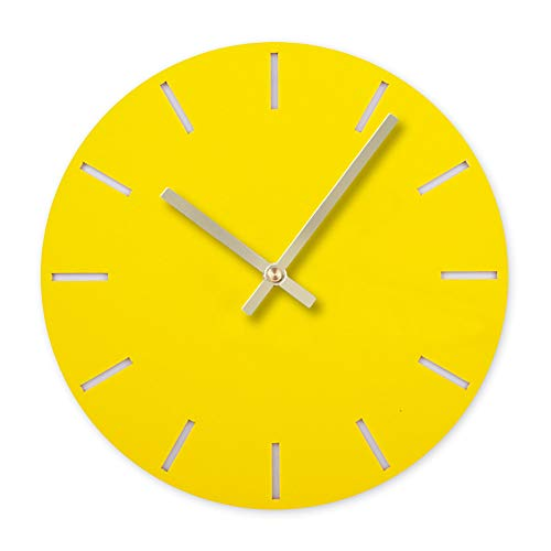 BB67 Clock Modern Fashion Acrylic Removable DIY Acrylic Wall Clocks Decorative Clock Round Home/Office/School Clock (F, Yellow)