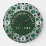 Green Monstera Leaf Pattern On Wood Pallet Large Clock