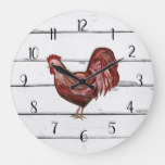 Red Rooster French Country Shiplap Farmhouse Decor Large Clock