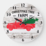 Red Vintage Truck with Christmas Tree Clock