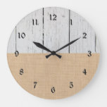 Rustic Country White Wood And Burlap Large Clock