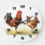 Rustic Vintage Country Rooster Large Clock