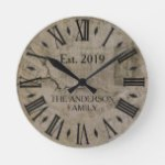 Rustic Vintage Distressed New York Times  Wall St Round Clock
