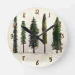 Vintage Green Forest Trees Rustic Woodsy Round Clock