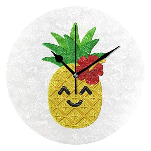 HangWang Wall Clock Cool Pineapple with Flower Silent Non Ticking Decorative Round Digital Clocks for Home/Office/School Clock
