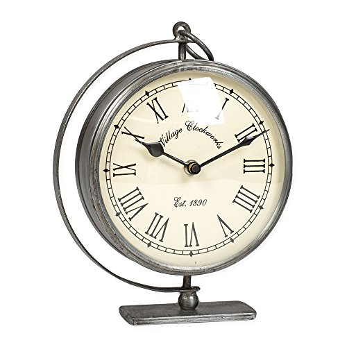 The Country House Collection Richmond Village Clockworks 7 x 9 Metal Table Top Analog Clock