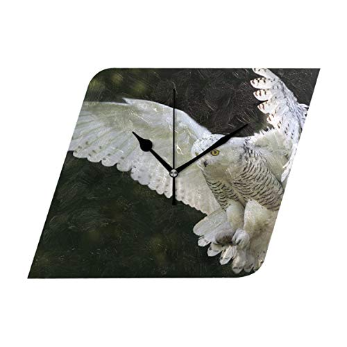 HangWang Wall Clock Snow Owl Wings Flying Silent Non Ticking Decorative Diamond Digital Clocks for Home/Office/School Clock