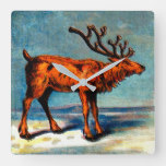antique caribou print square wall clock