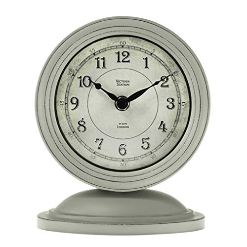 Desk Clock Table Clock for Living Room Decor Bedrooms Bathroom Small Battery Operated Analog European Rustic Non-Ticking Silent Vintage Decorative (Color : B)