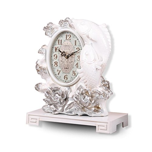 ZYANZ Retro Resin Mantel Clock, Mute Battery Powered Shelf Clock (Color : White, Size : 12.4″/31.5×26.5x15cm)