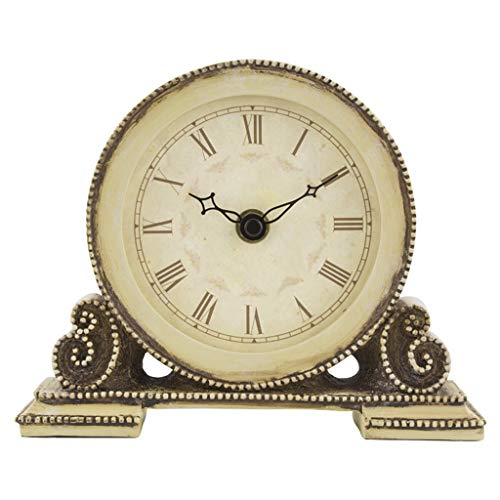 Desk Clock Table Clock for Living Room Decor Bedrooms Bathroom Small Battery Operated Analog European Vintage Non-Ticking Silent Retro Decorative