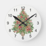 Evergreen Decorated Rustic Tree Christmas Holiday Round Clock