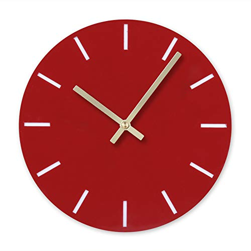 BB67 Clock Modern Fashion Acrylic Removable DIY Acrylic Wall Clocks Decorative Clock Round Home/Office/School Clock (F, Red)