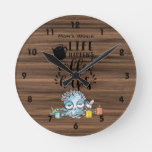 Funny Life Happens COFFEE HELPS Tired Octopus Round Clock