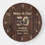 Mom and Dad 50th Wedding Anniversary 2019 Large Clock