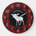 Rustic Country Buffalo Plaid Family Large Clock
