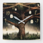 Rustic Night Tree with Lights & Mason Jars Square Wall Clock