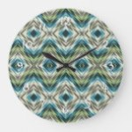 Teal Blue Lime Green Taupe Brown Ethnic Look Art Large Clock