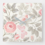 Vintage Roses & Leaf Pattern Square Wall Clock