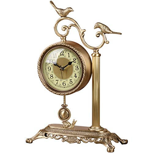 Desk Clock Table Clocks for Living Room Decor Bedroom Rustic Battery Operated Analog Non-Ticking Silent European Retro Bird Creative Decoration