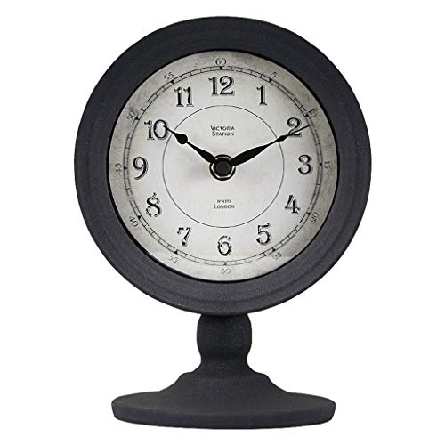 Desk Clock Table Clock for Living Room Decor Bedrooms Bathroom Vintage Battery Operated Analog Electric Non-Ticking Silent Roman Decorative (Color : C)