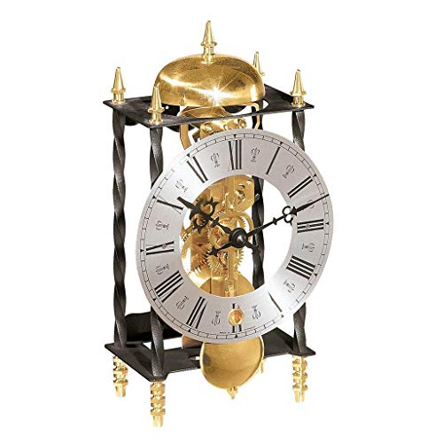 Qwirly Galahad II Mechanical Mantel Clock #22734000701 by Hermle – Skeleton Antique Iron Table Clock with Chimes