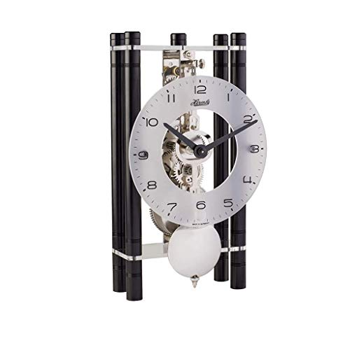 Qwirly Mikal Mechanical Table Clock #23021740721 by Hermle – Roman Style Skeleton Chiming Desk or Mantle Clock – Black with Silver Pendulum