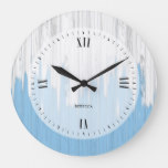 Painted white and blue wood texture large clock