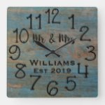 Rustic Personalized Blue Distressed Wood Custom Square Wall Clock