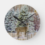 Rustic Wood with Forest and Deer Road Wall Clock