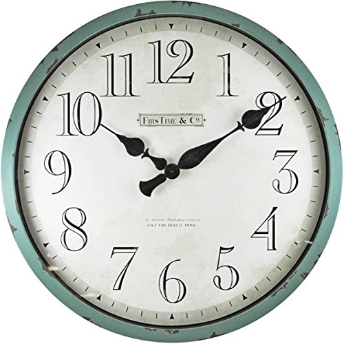 FirsTime 10065 Bellamy Wall Clock, Aged Teal