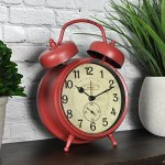 FirsTime 99657 Double Bell Tabletop Alarm Clock, Aged Red