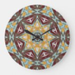 Brown Yellow Turquoise Red Eclectic Ethnic Art Large Clock