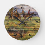 Colorful Cowboys On Horses Watercolor Art Painting Round Clock